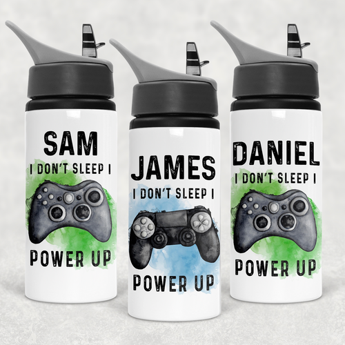 Gamer Personalised Straw Water Bottle I Don't Sleep I Power Up 600ml