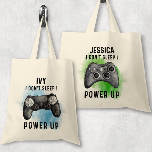 Gamer Personalised Tote Bag I Don't Sleep I Power Up