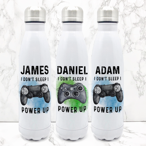 Gamer Personalised Travel Flask Water Bottle I Don't Sleep I Power Up 500ml
