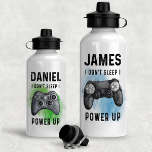 Gamer Personalised Water Bottle I Don't Sleep I Power Up - 400/600ml