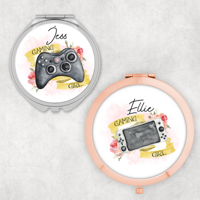 Gaming Girl Controller Personalised Compact Pocket Mirror