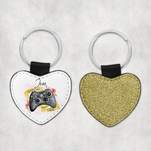 Gamer Girl Personalised Glitter Heart Keyring