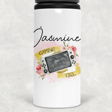 Gaming Girl Personalised Straw Water Bottle 650ml