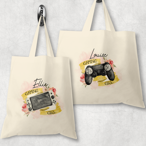 Gaming Girl Personalised Tote Bag