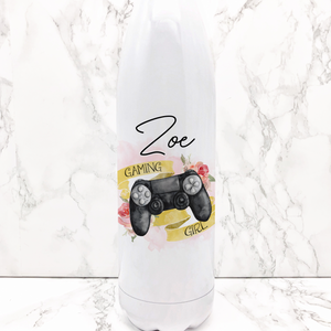 Gaming Girl Personalised Travel Flask Water Bottle 500ml