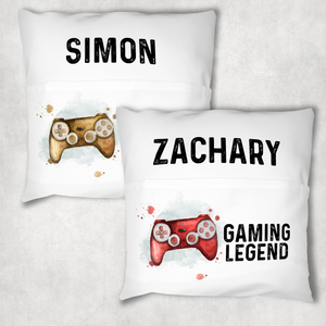 Gaming Legend Personalised Pocket Book Cushion Cover White Canvas