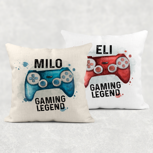 Gaming Legend Personalised Cushion Linen White Canvas