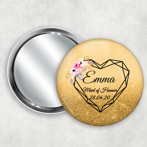 Geometric Heart Wedding Badge Button Pocket Compact Mirror