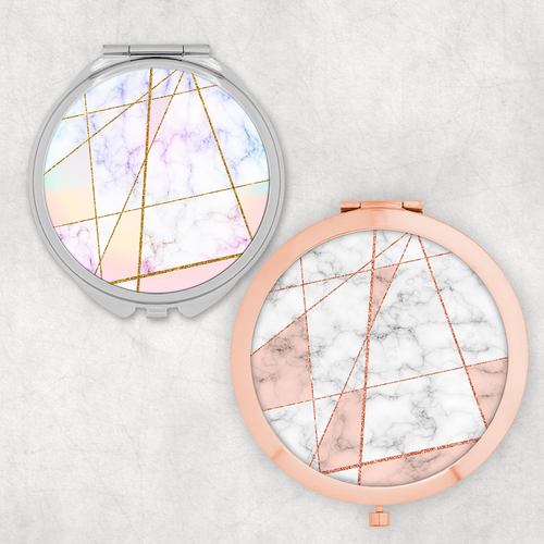 Geometric Rose Gold Rainbow Pocket Mirror