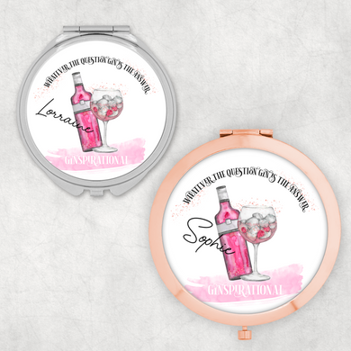Ginspirational Gin is the Answer Personalised Compact Pocket Mirror