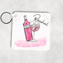 Ginspirational Pink Gin Personalised Square Keyring