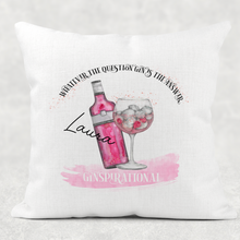 Ginspirational Gin is the Answer Cushion Linen White Canvas