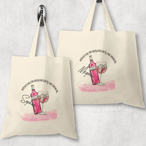 Ginspirational Gin is the Answer Tote Bag Personalised Alphabet MUA Gift