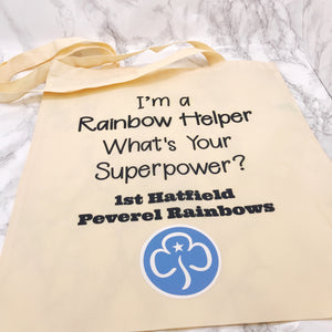 I'm a Brownie/Rainbow/Guide Leader What's Your Superpower Girlguiding, Brownies, Rainbow Tote Bag - Bottles - Molly Dolly Crafts