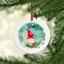 Gnome Watercolour Personalised Ceramic Round or Heart Christmas Bauble