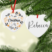 Gold Christmas Wreath with Name Double Sided Ceramic Round or Heart Christmas Bauble
