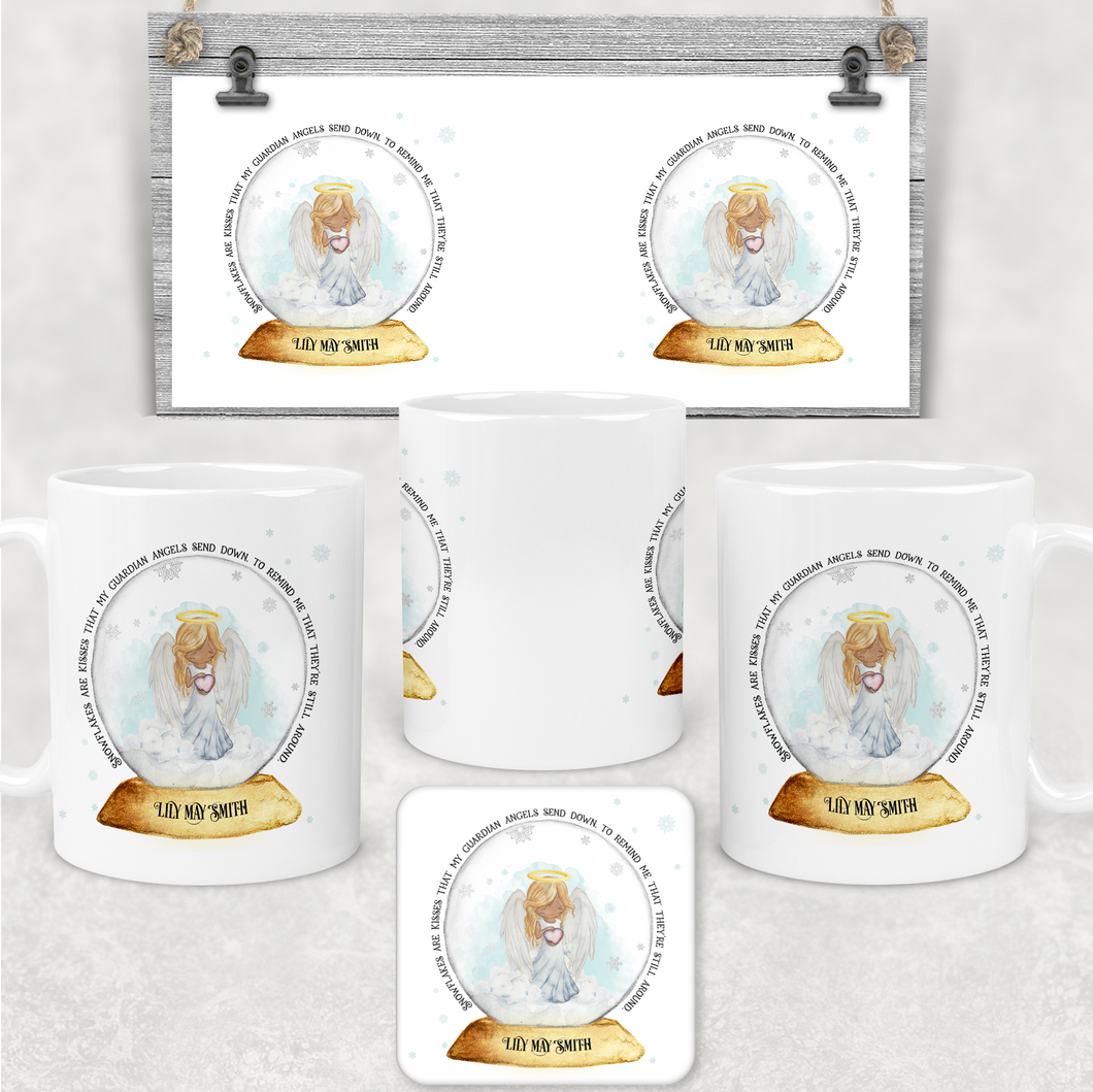 Snowglobe Guardian Angel Personalised Christmas Mug and Coaster Set