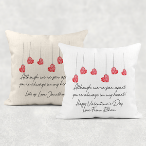 Hanging Hearts Long Distance Personalised Valentine's Day Cushion