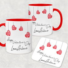 Hanging Hearts Red Valentine's Day Personalised Mug and Coaster Set