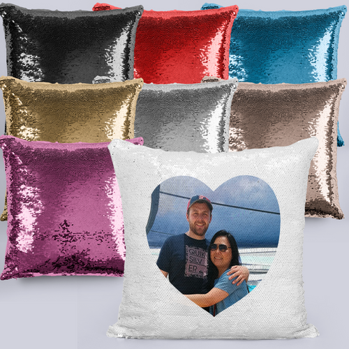 Heart Photo Mermaid Sequin Valentine's Day / Mother's Day Cushion