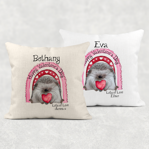 Hedge Hugs Personalised Valentine's Day Cushion