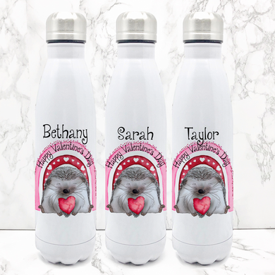 Hedge Hug Valentine's Day Personalised Travel Flask Water Bottle 500ml