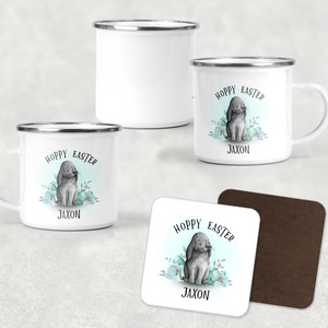 Hoppy Easter Bunny Rabbit Personalised Camping Mug and Coaster Set
