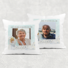 I Have an Angel in Heaven Memorial Photo Cushion Cover Linen White Canvas
