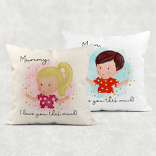 Mummy I Love You This Much Mother's Day Cushion Linen White Canvas