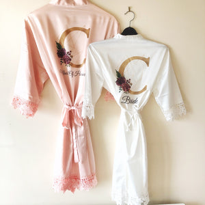 Initial Floral Personalised Bride Lace Wedding Dressing Robe -  - Molly Dolly Crafts