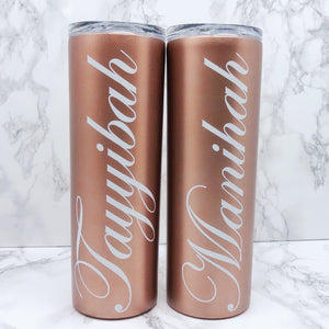 Personalised 500ml Tall Tumbler available in Black, White and Rose Gold - Bottles - Molly Dolly Crafts