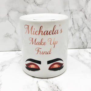Personalise Make Up Fund Money Pot | Rose Gold Eyes - Money Bank - Molly Dolly Crafts