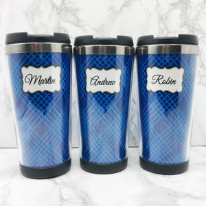 Blue Line 420ml Travel Mug with Option to Personalise | Personalised Travel Mug - Travel Mug - Molly Dolly Crafts