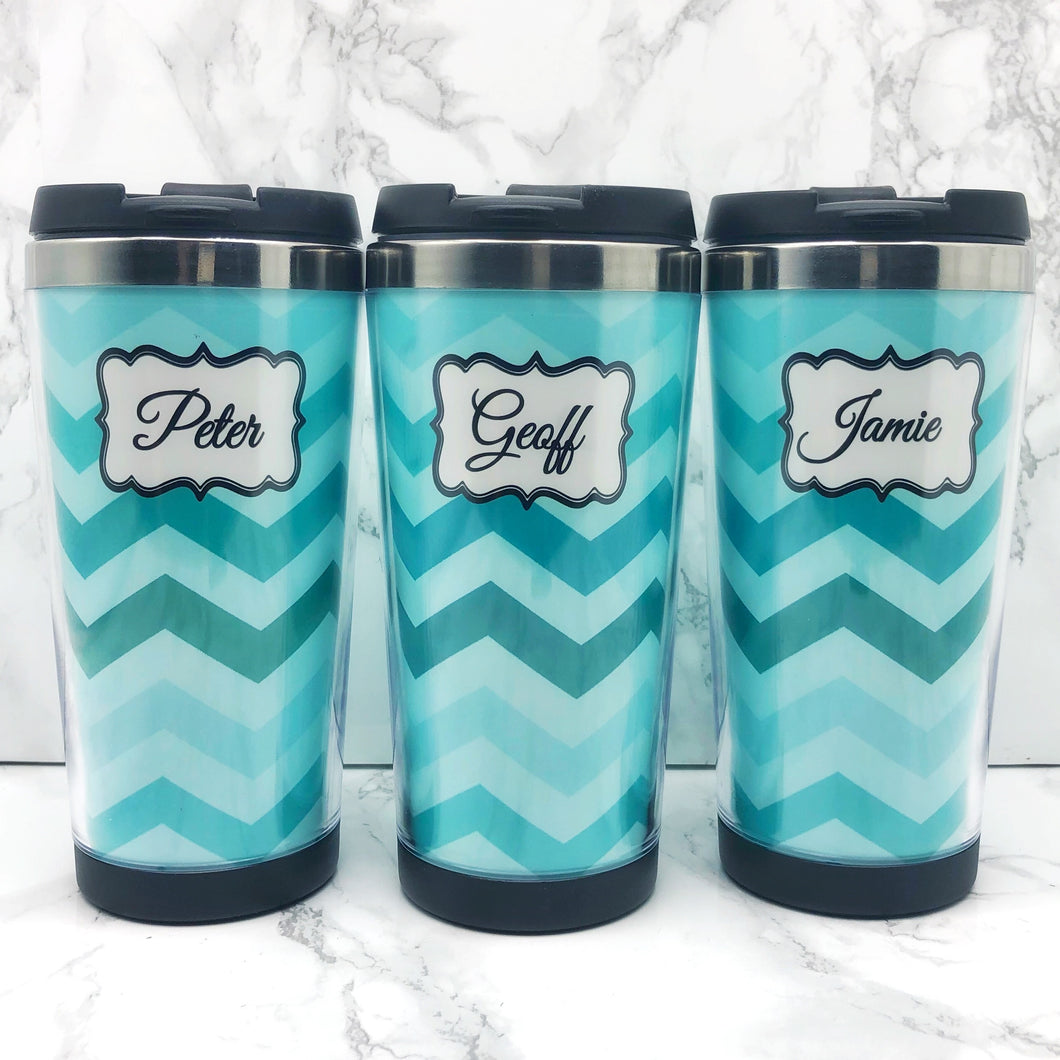 Chevron Personalised 420ml Travel Mug | Personalised Travel Mug - Travel Mug - Molly Dolly Crafts