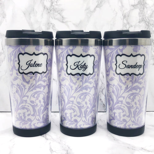 Damask 420ml Travel Mug with Option to Personalise - Travel Mug - Molly Dolly Crafts