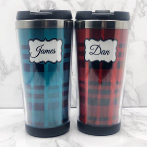 Tartan Personalised 420ml Travel Mug | Personalised Travel Mug - Travel Mug - Molly Dolly Crafts