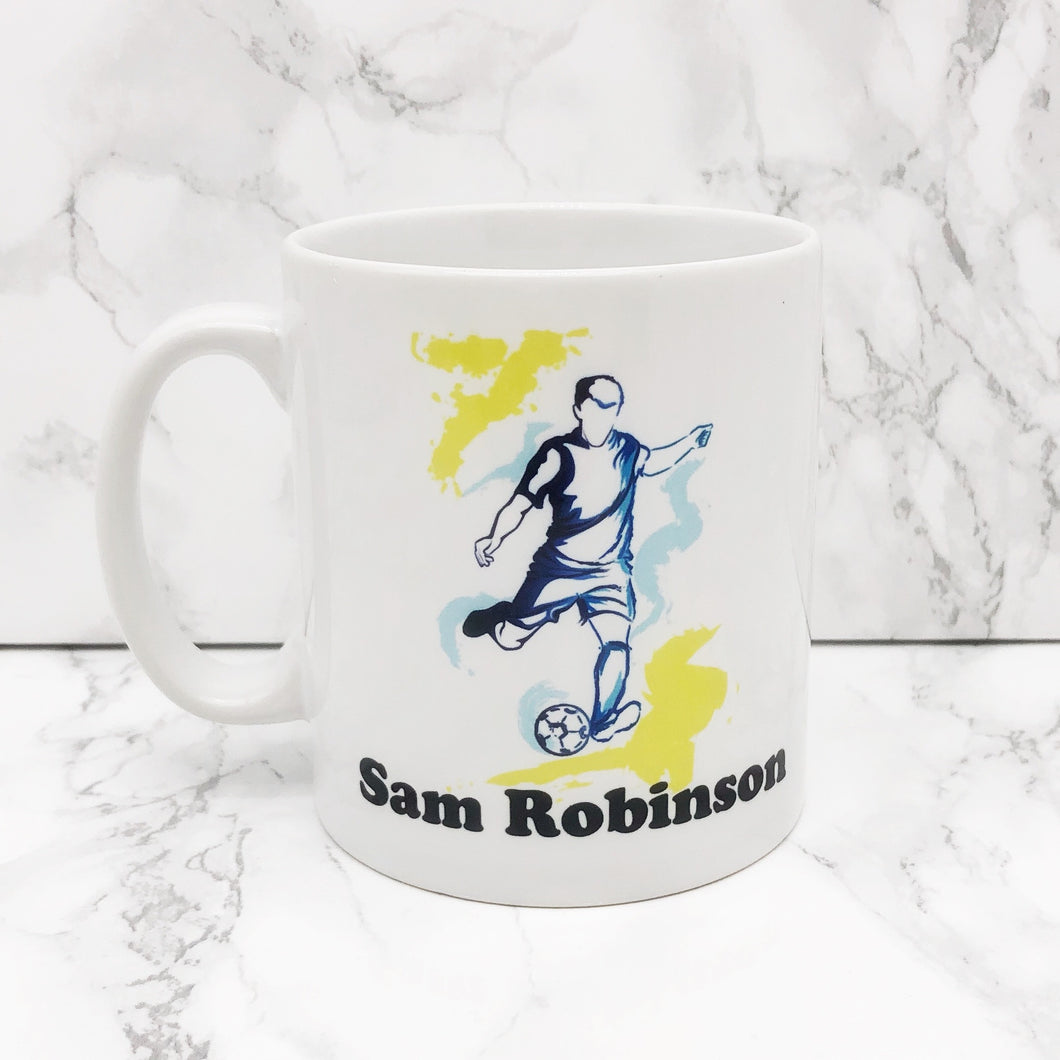 Personalised Football Watercolour Mug | Ceramic and Unbreakable Polymer