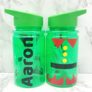 Santa or Elf Style Kids Christmas Water Bottle