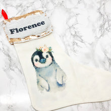 Personalised Penguin Sequin Topped Christmas Stocking