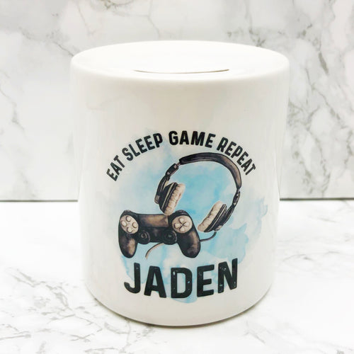 Gamer Personalised Money Savings Pot Eat Sleep Game Repeat