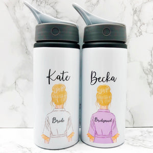 Wedding Robe Straw Bottle Bride Bridesmaid Maid of Honour Team Bride
