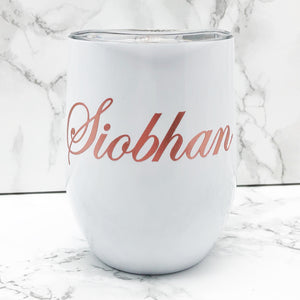 Personalised 400ml Stemless Wine Tumbler available in Black, White and Rose Gold