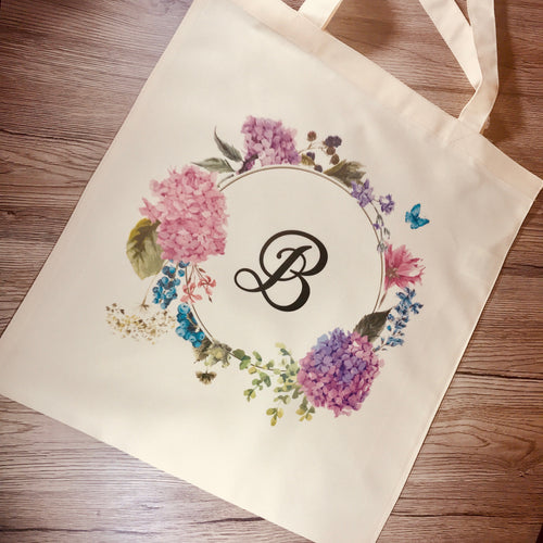 Initial Floral Wreath Tote Bag