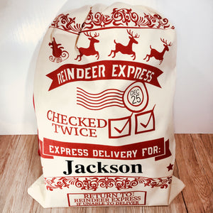 Reindeer Express Personalised Christmas Sack