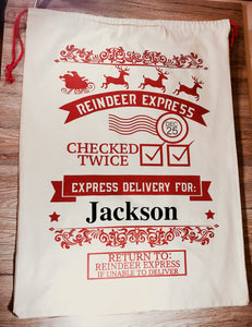 Reindeer Express Personalised Christmas Sack - Christmas - Molly Dolly Crafts