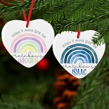Rainbow Watercolour Personalised Ceramic Round or Heart Christmas Bauble