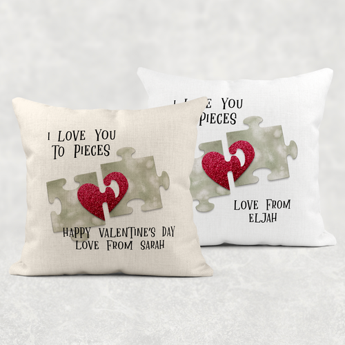 Love You to Pieces Personalised Valentine's Day Cushion