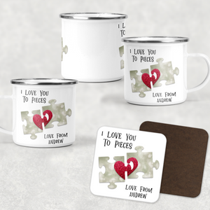 Love You to Pieces Valentine's Day Camping Mug and Coaster Set