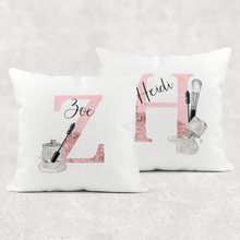 Make Up Alphabet Linen/White Canvas Cushion