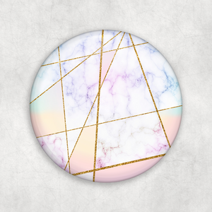 Marble Rose Gold Geometric Badge Button Pocket Compact Mirror